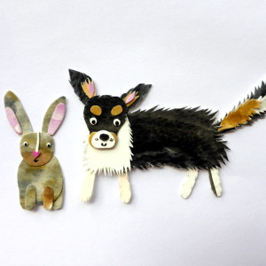 Oliver the Pomchi and Lola the Bunny